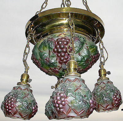 Antique Cosolidated Glass Puffy Grape Hanging Ceiling Light Lamp Fixture