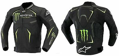 New Monster Motorbike Leather Racing Jacket With all CE Approved Protections