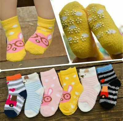 Non-Slip Thick Warm Children Kids Slipper Fluffy Socks Super Soft Size 0-3 Year