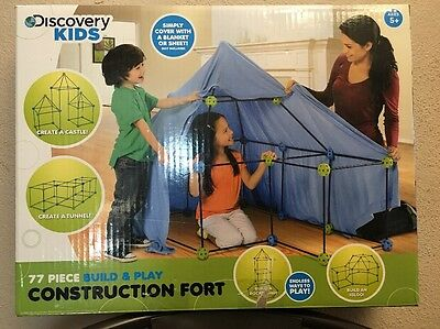 Discovery Kids 77-Piece Build And Play Construction Fort Set, Blue