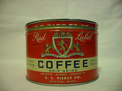 Vintage S. S. Pierce Co. Red Label Coffee Tin - One Pound