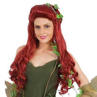 Adult Long Wavy Curly Wig Batman Poison Ivy Cosplay Prop Wine Red Synthetic Hair