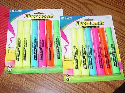 2 pkg Bazic Fluorescent Highlighters Assorted Colors 6 each; total 12 Chisel tip