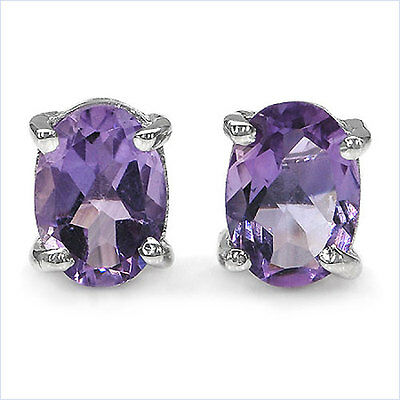 0.95ctw Natural Mined Amethyst 6x4mm Oval .925 sterling silver stud earrings