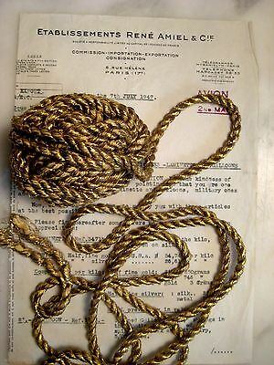 """SPECIAL PRICE 11 yds Vintage Antique French Gold Metallic Rope Cord Trim 1/4"""""""