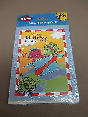 NEW American Greetings Old Stock 2001 BARNEY & FRIEND 5 Pack Kids BIRTHDAY CARDS