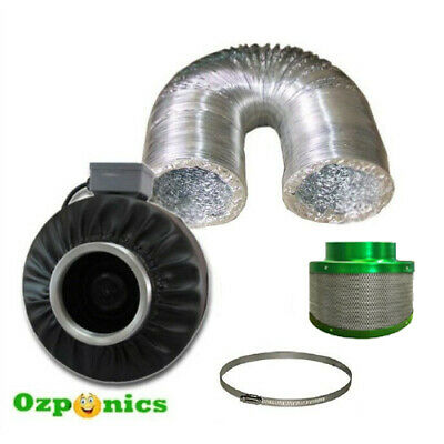 4 Inch Inline Ventilation Centrifugal Fan + Ducting + Clamp + Carbon Filter Kit