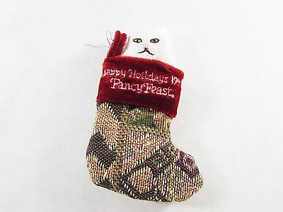 Fancy Feast Cat Christmas Ornament 1995 Cat in Tapestry Style Stocking