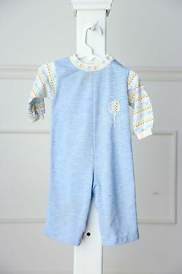 Vintage baby boy blue 1 piece romper outfit - size 12 months