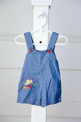 Vintage baby boy blue cowboy decal shorts overalls jumper - aprox size 12 months