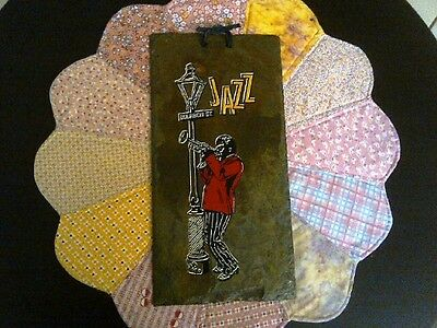 Jazz Hand Painted And Signed Slate From New Orleans