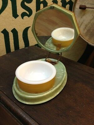 Vintage Folding Shaving Box With Mirror And Cup Celluloid Green and Carmel/Brown