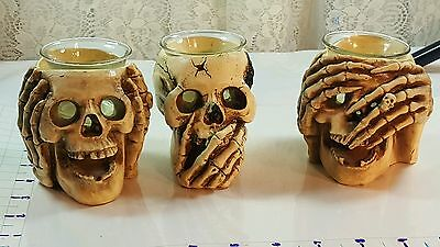 "set of 3 skull candle holders ""see,hear, and speak no evil"""