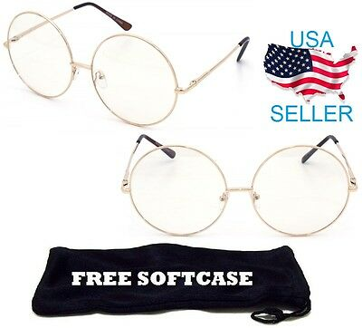 Unisex Round Clear Lens Glasses Thin Metal Spring Hinge Circle Frame