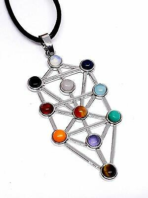 Tree of Life Reiki 11 Chakra Pendant Gemstone Kabbalah Leather Cord Necklace