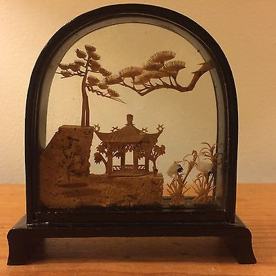Vintage Arched Chinese San You Black Lacuqer Shadowbox Display Carved Cork Art