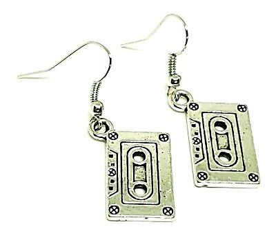 Cassette Tape /cEarrings 80s 90s Funky Cute Kitsch Retro Cool Fun Silver Plated