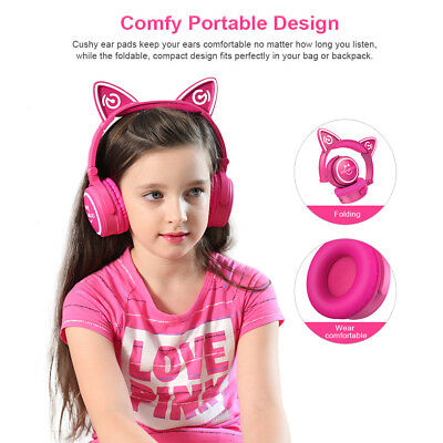 Foldable Cat Ear Bluetooth Headphones Headband LED Lights Earphone for SumsungS6