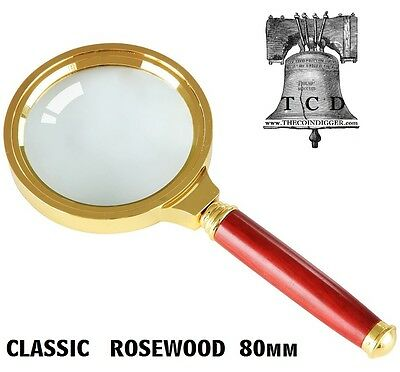 10x Magnifier Classic 80mm Magnifying Glass Rosewood Handle Coin Currency Stamp
