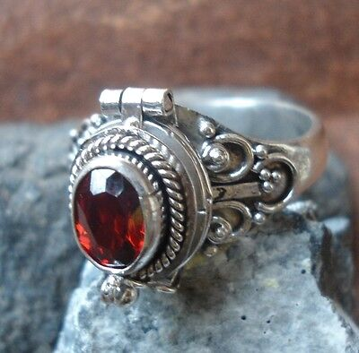 925 Solid Silver Balinese Poison/Wish Locket Ring Garnet Cut Size 9-65L