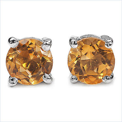 0.84ctw Natural Mined Citrine  .925 sterling silver stud earrings