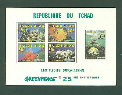 Chad 1996 Fr 1020 Coral Reefs Diver Minisheet Greenpeace Booklet SB2