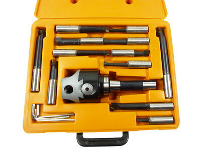 "3"" R8-3  Boring Head Milling Cutter Set 12pcs Indexable Boring Bar Set New"