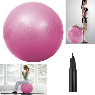 Anti Burst 75cm Yoga Ball Gym Exercise Swiss Fit Fitness Pregnancy Home W/ Pump