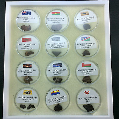 Meteorite Fragment Specimen Collection Box from Around the World 161203
