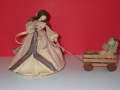 "VINTAGE CORN HUSK DOLL TRIO ""MOTHER & CHILDREN IN WAGON"" -- Nan Anderson -- RARE"