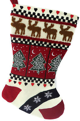 Christmas Stocking Red Green Navy Snowflakes Moose Trees Thick Sweater Fabric