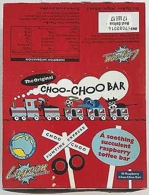 903628 1kg BOX OF 50 x 20g ORIGINAL RASPBERRY CHOO-CHOO BARS! - TOFFEE BAR - AUS