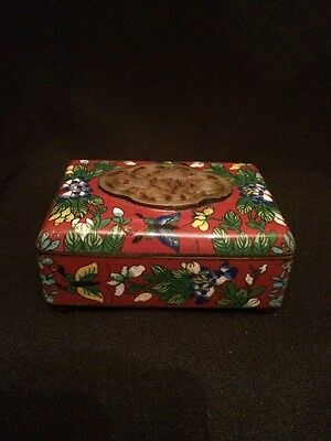 Antique 19th c. Chinese Red Floral Cloisonne Enamel w Jade Jewelry Money Box