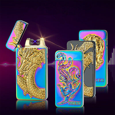Recharge Electric DOUBLE Arc Pulse Plasma Cigarette USB Lighter Flameless Cool