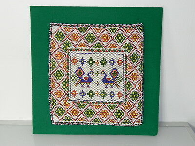 """Rare Antique Vintage Hand Beaded Picture Embroidery 12"""" X 12"""" Beautiful Unique"""