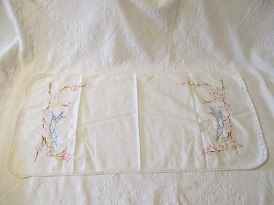 Vtg Birds Table Runner Dresser Scarf Stitched Crocheted edge Hand Embroidered
