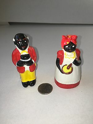 Black Americana Aunt Jemima Bell and Uncle Moses Toothpick Holder Ceramic