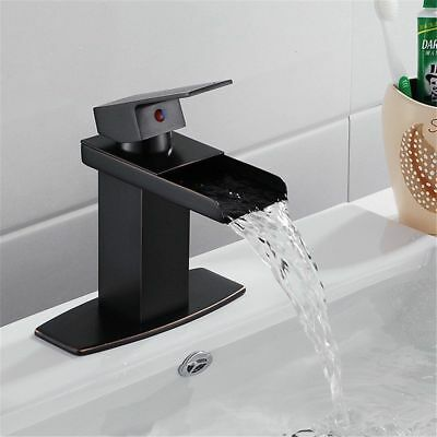 Oil Rubbed Bronze Waterfall Spout Bathroom Sink Vessel Vanity faucets Mixer Tap