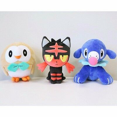 Anime Pokemon Center Rowlet Litten Popplio Plush Dolls Set Of 3 Sun Moon Toys