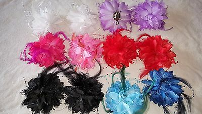 Joblot 24 pcs Lace Pearl & Feather Flower Hair Clip/Corsage/Brooch New Wholesale