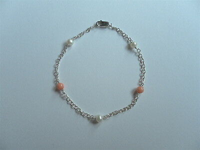 Sterling silver, freshwater cultured pearl and coral bracelet