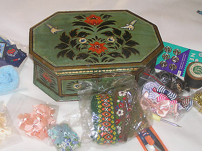 Wooden Box Of Craft Items,sewing,crafts,scrapbooking Etc.