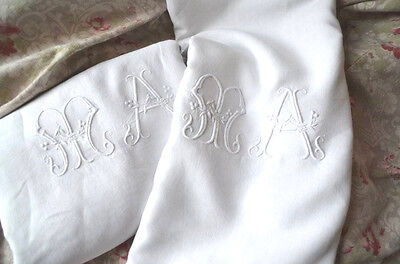 """Antique French hand embroidered MA monogrammed pure linen sheet, king size 91"""""""