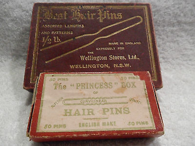 2 HAIR PIN BOXES Vintage Collectable