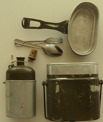 Vintage Swiss Army Aluminum Storage Food Container Bottle Set Camping - Hiking