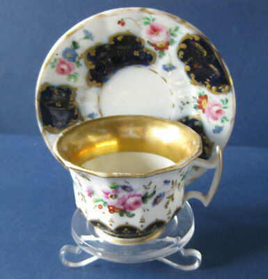 """French Style """" Vieux Paris """"  Footed Tea Cup and Saucer"""