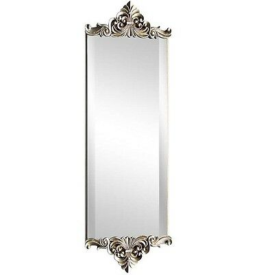 Silver Crested Baroque Antique Shabby Chic Bevelled Edge Wall Mirror NEW Hall