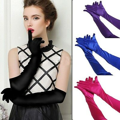 Womens Bridal Prom Long Stretch Satin Evening Party Arm Elbow-length Gloves