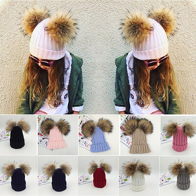 Toddler Kids Girl Big Hat Double X-Large Ball Feather Winter Knit Beanie Cap Hot