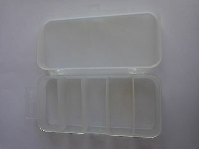 Plastic Bits Fly Small Spinner Box  13 x 6 x 2 cm  5 sections 2.5 x 5.5 cm each